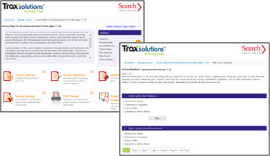 Screencaps from Search Institute's Developmental Assets Profile in SurveyTrax, which provides online survey software for human services organizations.